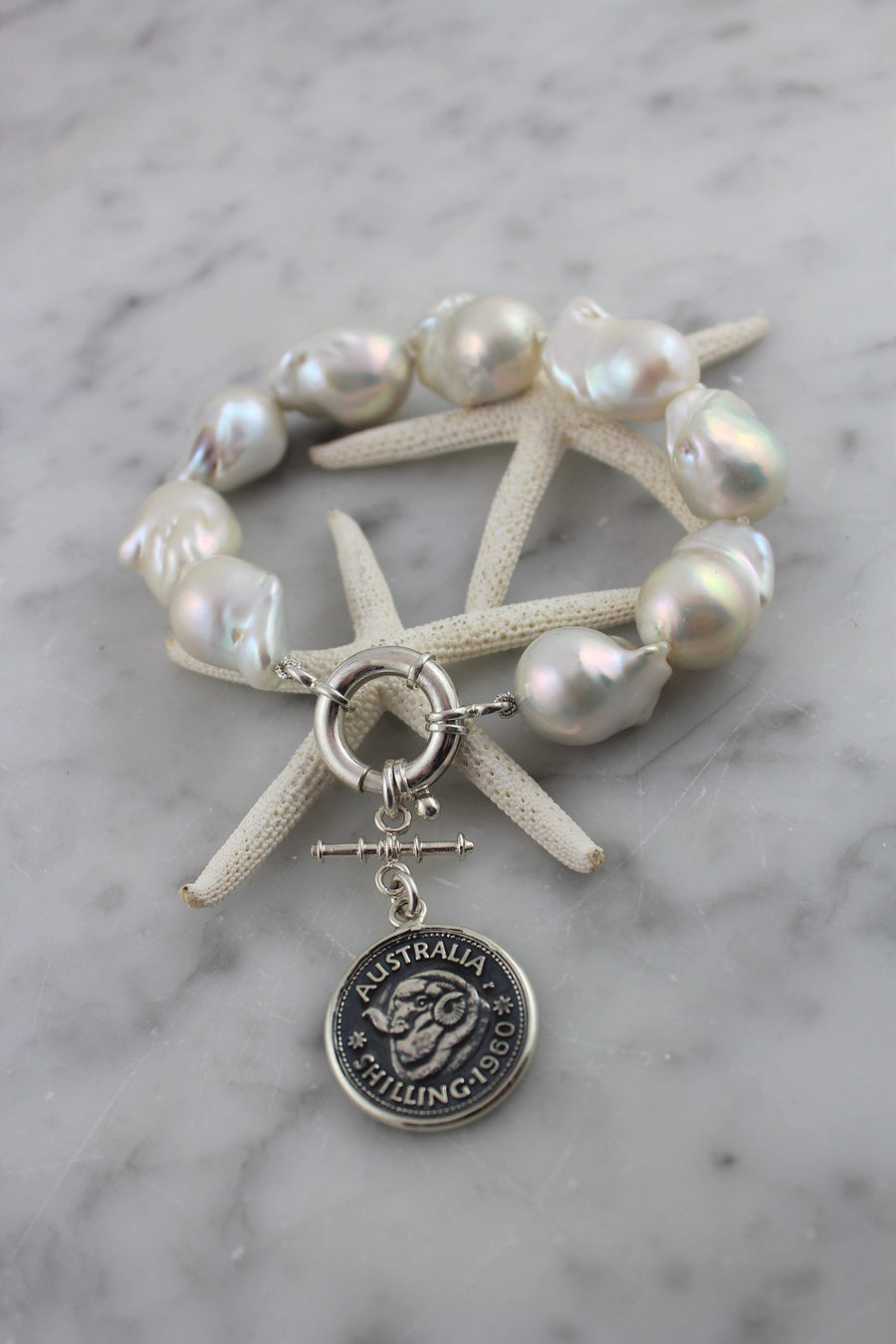 Baroque pearl bracelet with Australian vintage coin enhancer