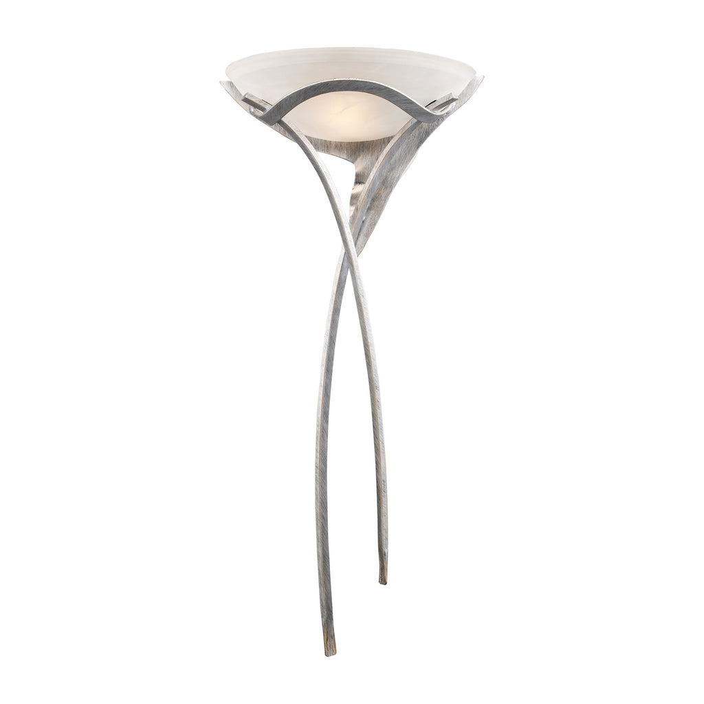 Aurora 1 Light Sconce In Tarnished Silver With White Faux-Alabaster Glass 002-TS by Elk Lighting