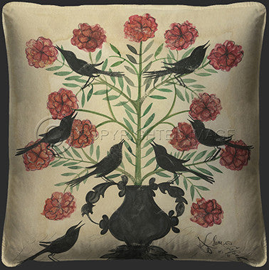 10105 Black Birds In Pink Flowers Pillow