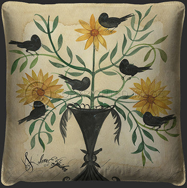 10106 Black Birds In Yellow Flowers Pillow