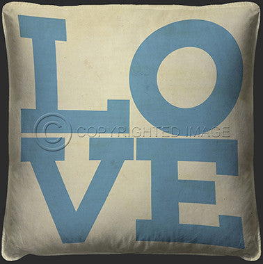 10119 Love Blue On White Pillow