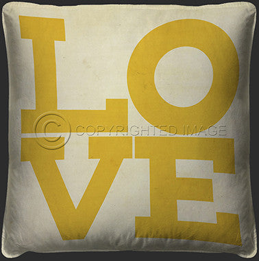 10120 Love Yellow On White Pillow