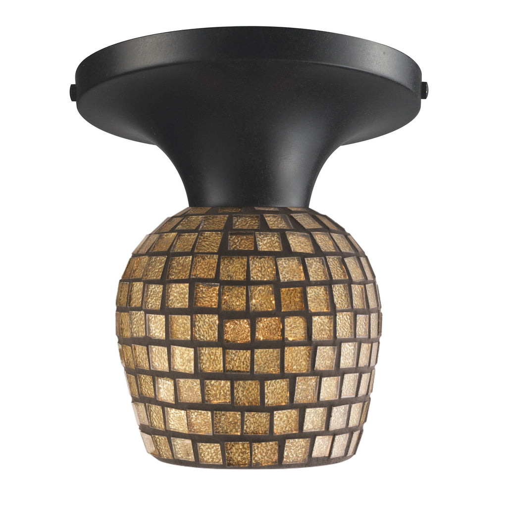 Celina 1 Light Semi Flush In Dark Rust And Gold Leaf Glass 10152/1DR-GLD by Elk Lighting