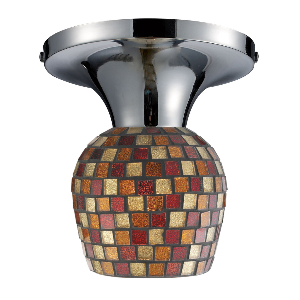 Celina 1 Light Semi Flush In Polished Chrome And Multi Fusion Glass 10152/1PC-MLT by Elk Lighting