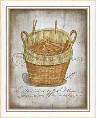10262 KI Laundry Basket Clothes Pins 2013 Framed Art