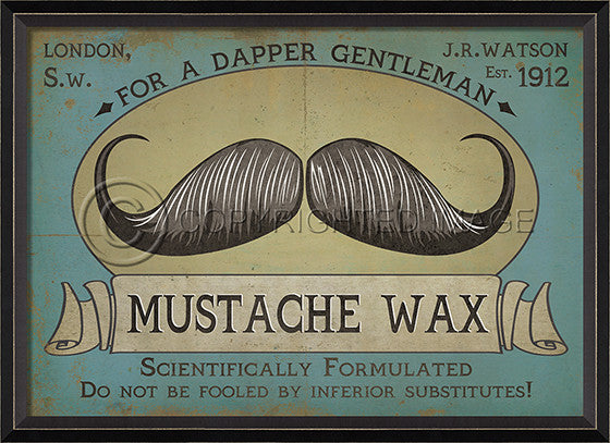 10334 BC Mustache Wax Sign Framed Art