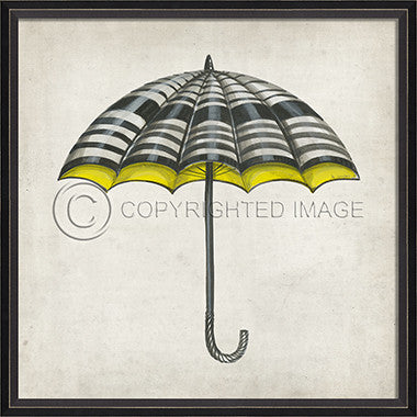 10425 BC White Black and Yellow Umbrella Framed Art