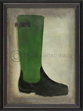 10455 BC Green and Black Boot Framed Art