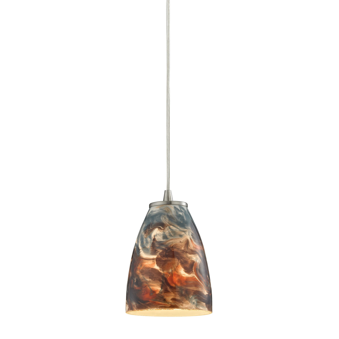 Abstractions 1 Light Pendant In Satin Nickel 10460/1CS by Elk Lighting