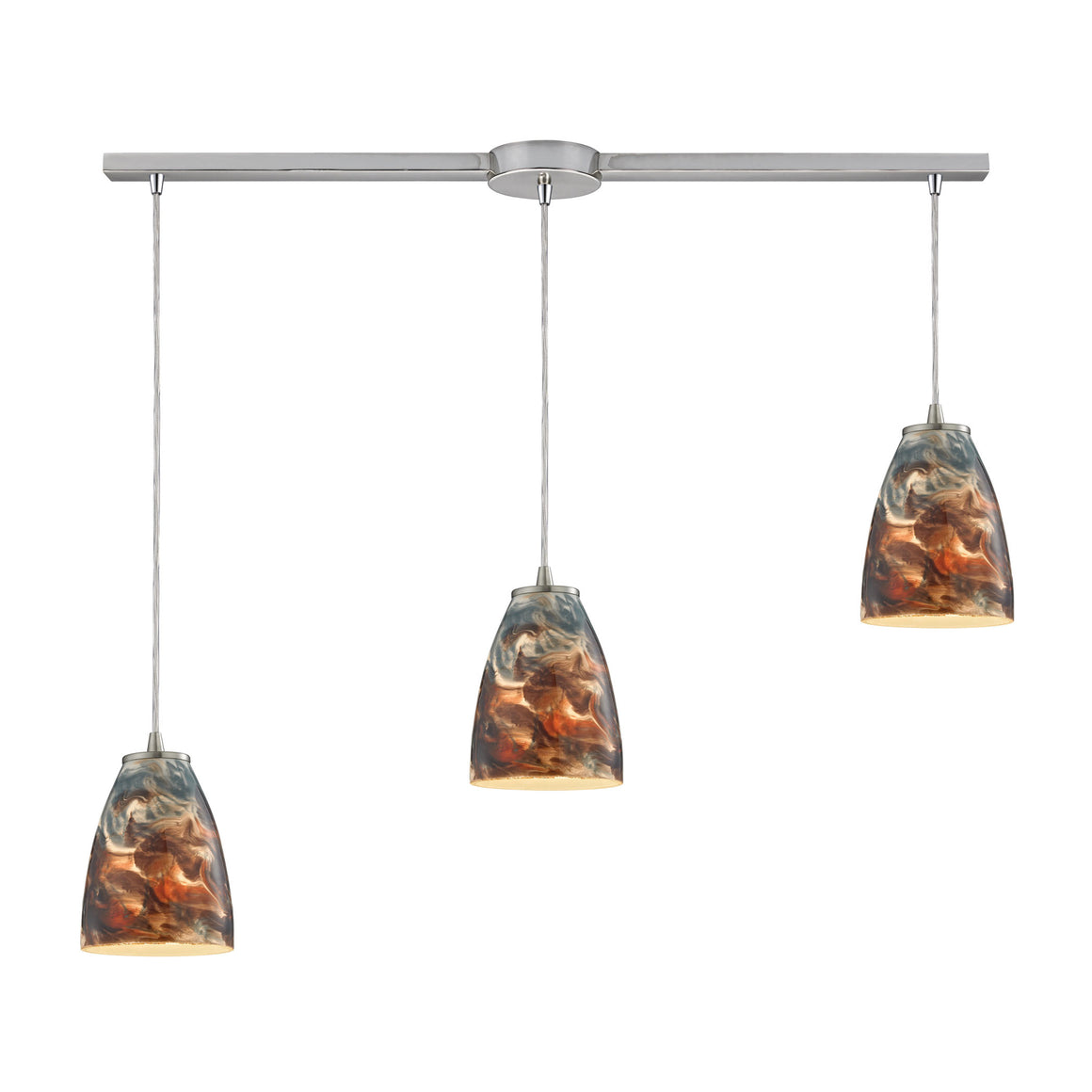 Abstractions 3 Light Pendant In Satin Nickel 10460/3L-CS by Elk Lighting