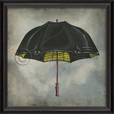 10461 BC Black and Yellow Umbrella in Clouds Framed Art