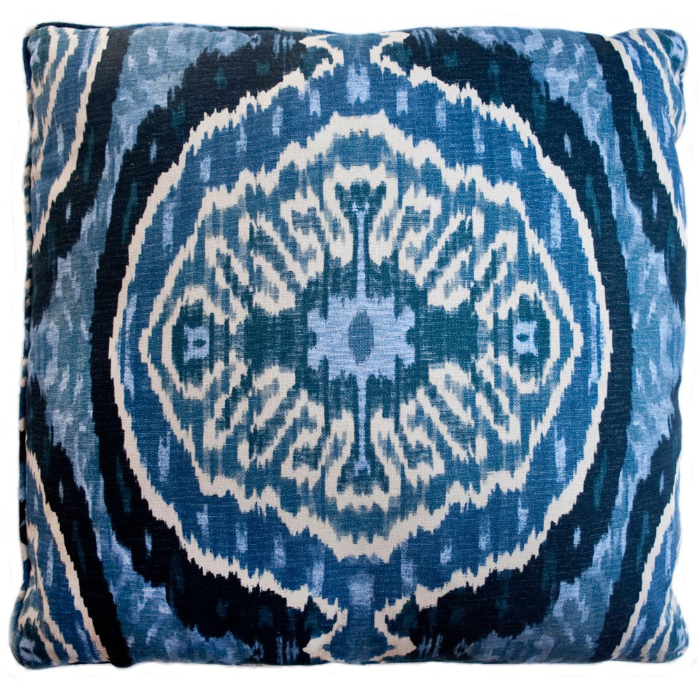 Ikat Blue Decorative Throw Pillow by Stuart Lawrence