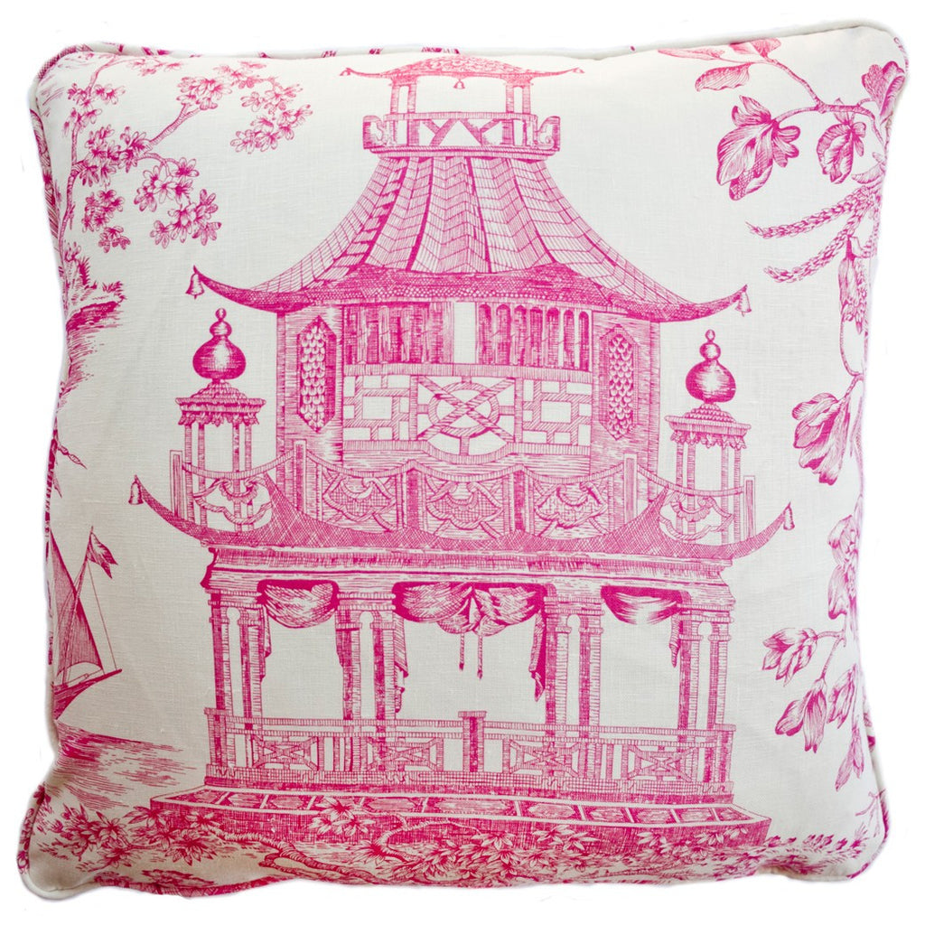 Pagoda Raspberry Decorative Throw Pillow by Stuart Lawrence
