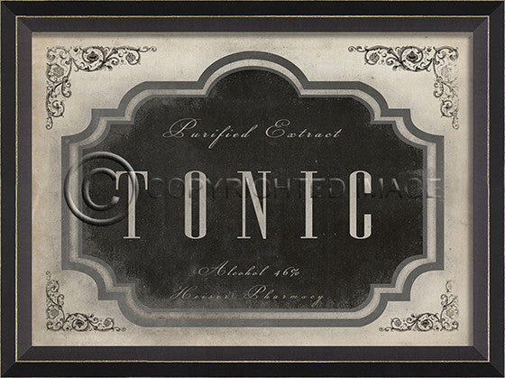 10624 BC Tonic Apothecary Label Framed Art