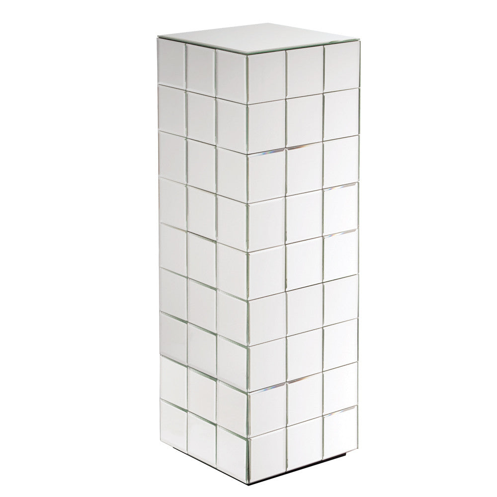 Antares Tall Mirrored Puzzle Cube Pedestal 11100 by Howard Elliott