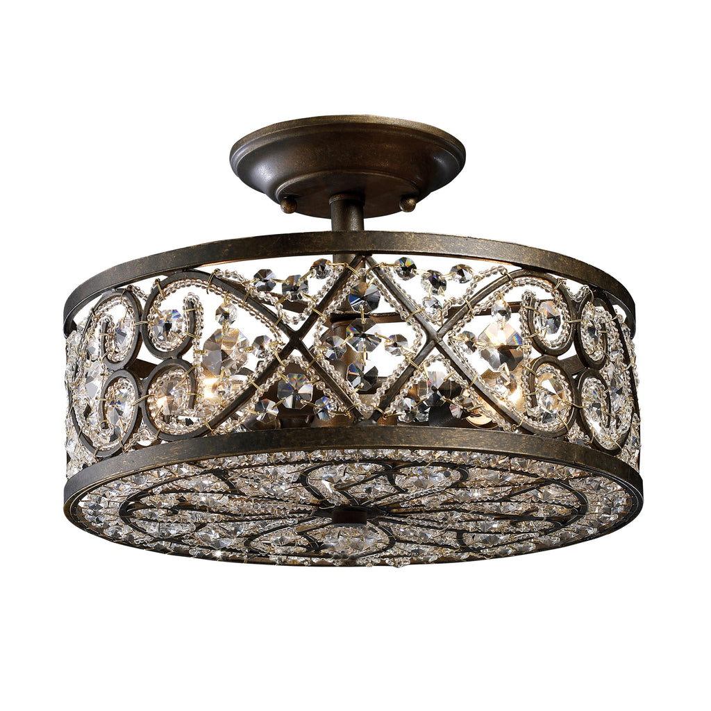 Amherst 4 Light Semi Flush In Antique Bronze 11286/4 by Elk Lighting