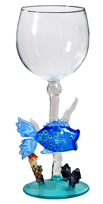 Goblet with Blue Coral Fish - W265