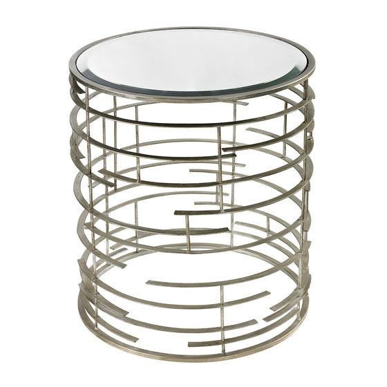 Contemporary Sculptural Metal Work Side Table With Clear Glass Top by Sterling