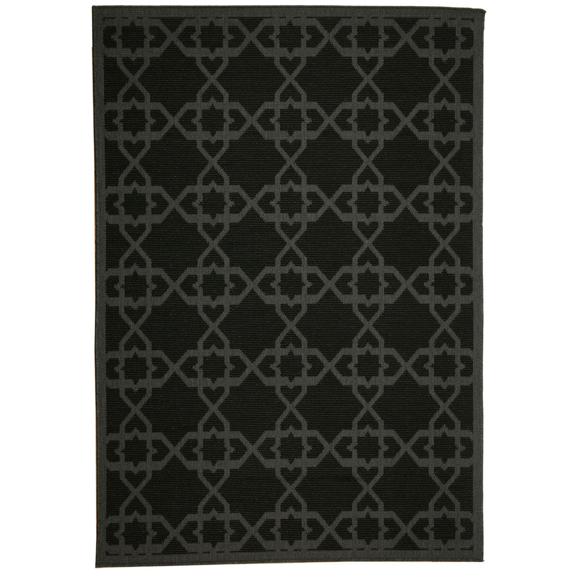 Antebellum Black Outdoor Porch Rug