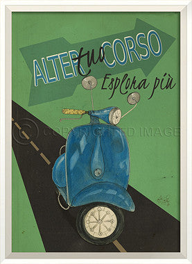 11519 WC Scooter Alter Tuo Corso On Green Framed Art