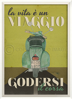 11523 WC Scooter Viaggio Godersi on Green Framed Art