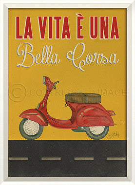 11526 WC Scooter La Vita E Una on Yellow Framed Art