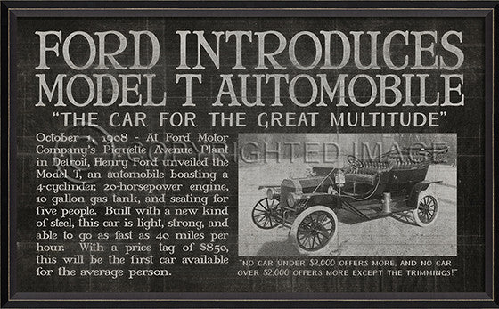 11681 BC Ford Introduces Model T Automobile Black Framed Art