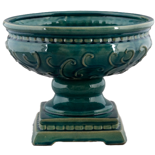 Planter with Square Base - Aqua Majolica by Oriental Danny