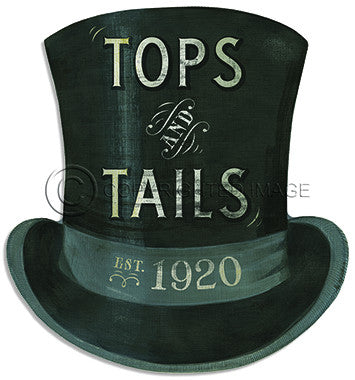 12061 KES Tops and Tails Hat Sign Cutout Framed Art