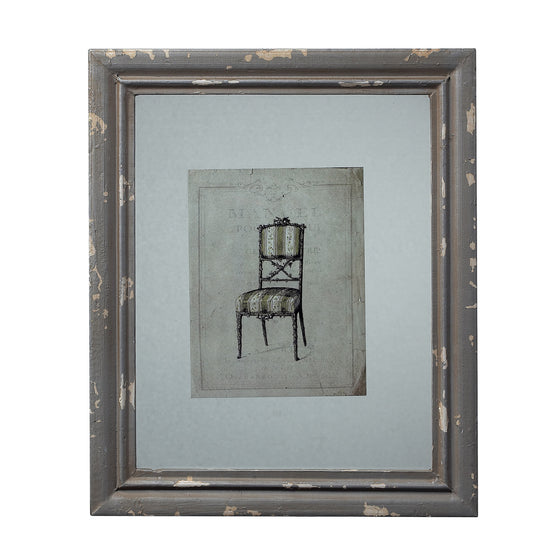 Distressed Grey Picture Frame With Antique Chair Print by Sterling