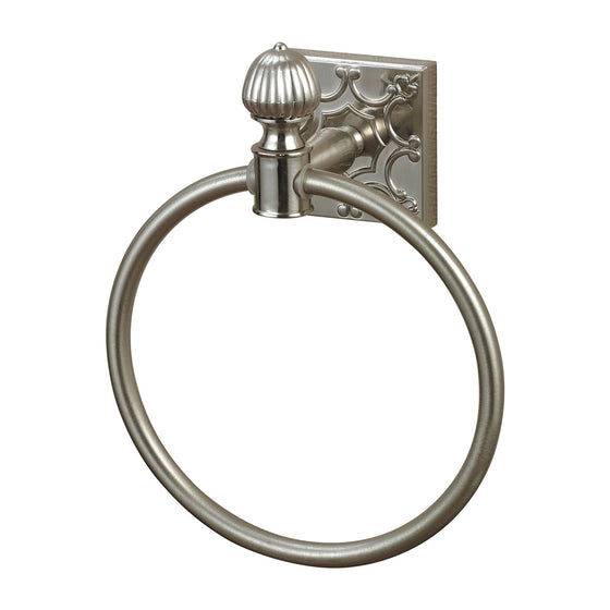 Towel Ring In Brushed Steel With Embossed Back Plate 131-009 by Sterling