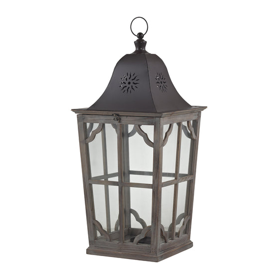 High Green-Large Wooden Lantern by Sterling