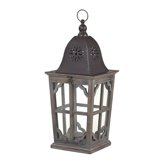 High Green-Medium Wooden Lantern by Sterling