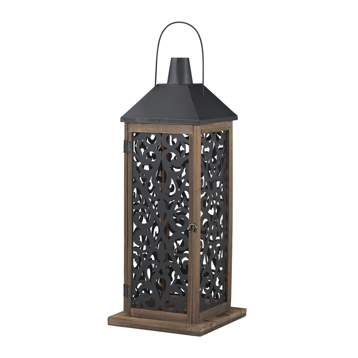 Darfield-Large Lantern With Filigree Paneling  by Sterling