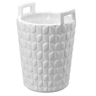 Hampton Round Ceramic Basket With Handles, Tall 1381 by A&B Home
