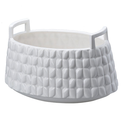 Hampton Round Ceramic Basket With Handles, Tapered 1382 by A&B Home