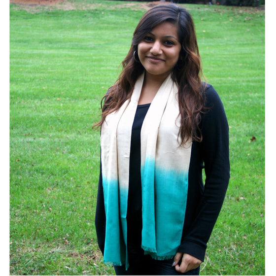 Peace Silk: Aquamarine Ombre Scarves by Sustainable Threads