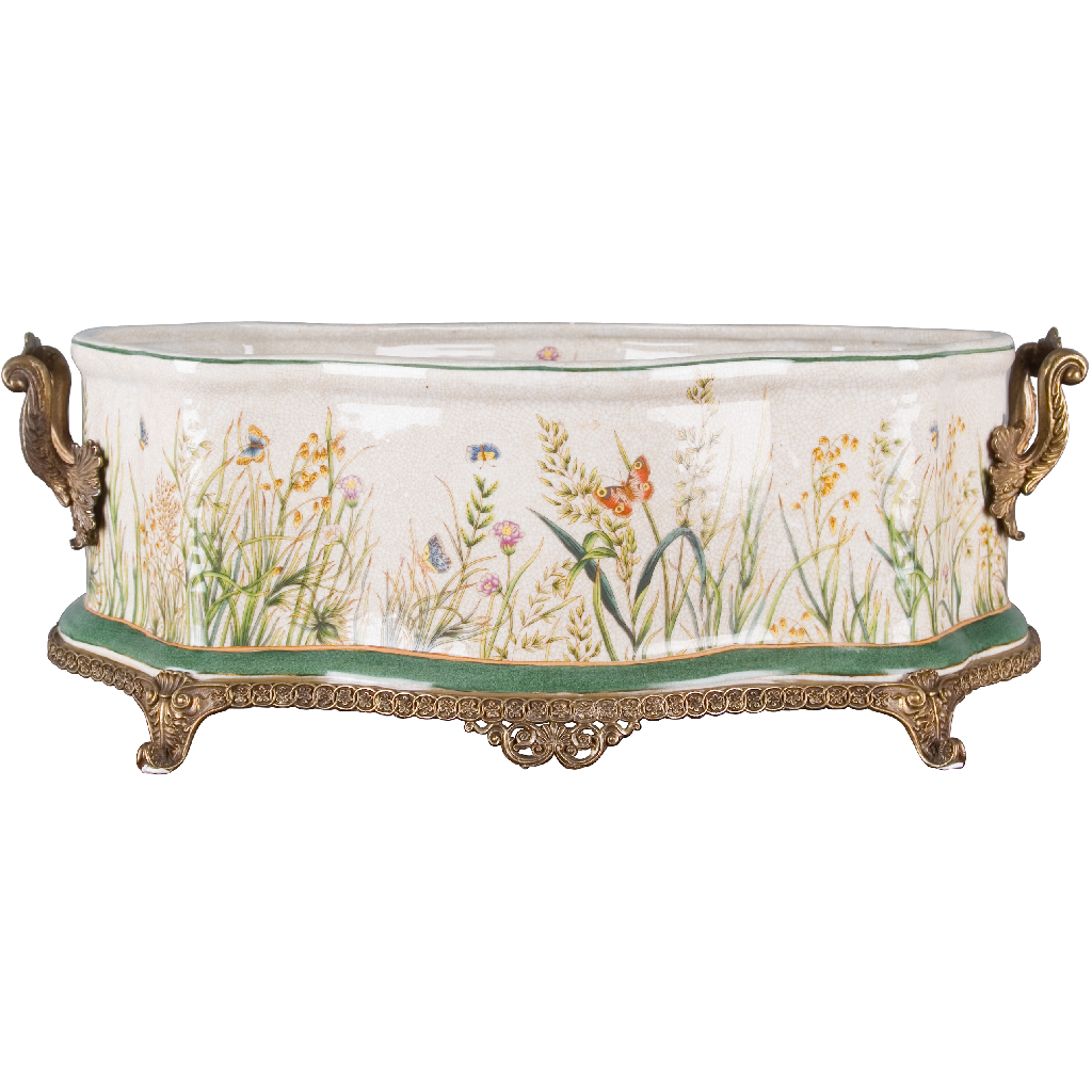 Porcelain Basin with Bronze Ormolu - Wildfield Butterfly by Oriental Danny