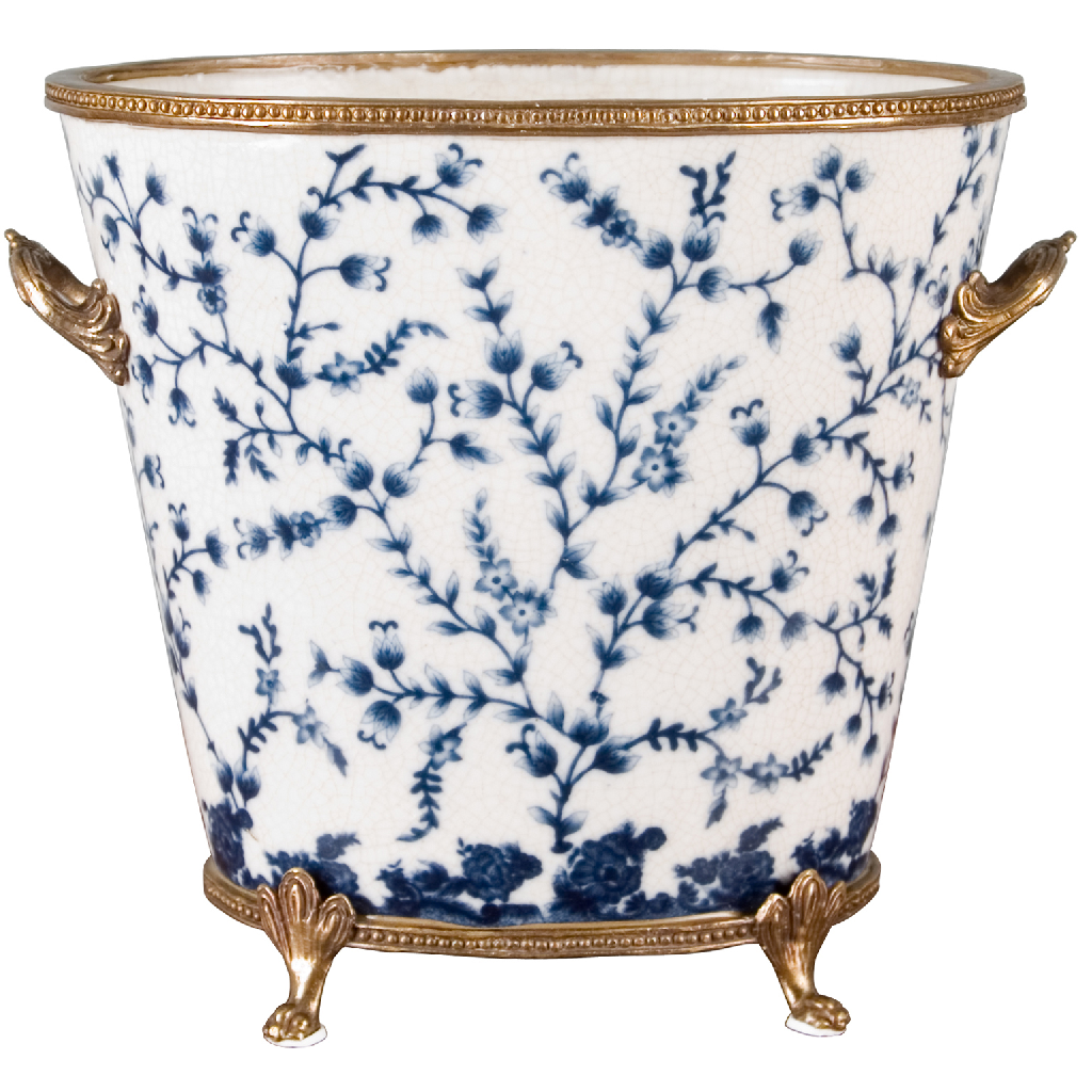 Porcelain Planter with Bronze Ormolu - Blue and White by Oriental Danny