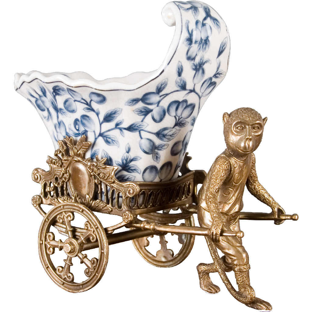Porcelain Rickshaw Basin with Bronze Monkey - Blue and White Willow by Oriental Danny