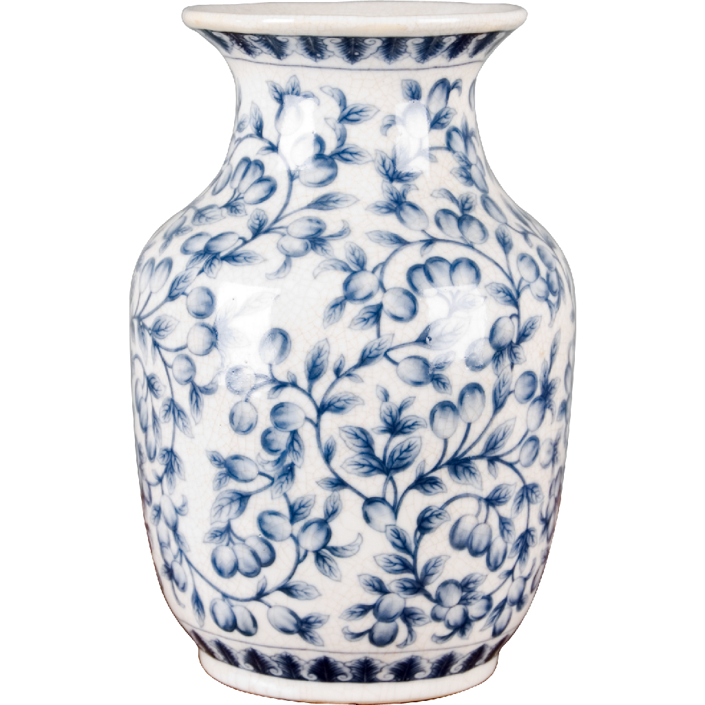 Porcelain Vase - Blue and White Filigree by Oriental Danny