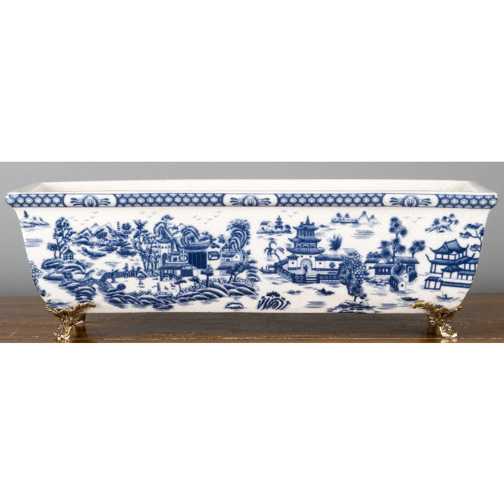 Porcelain Rectangular Planter with Bronze Feet - Blue Willow by Oriental Danny