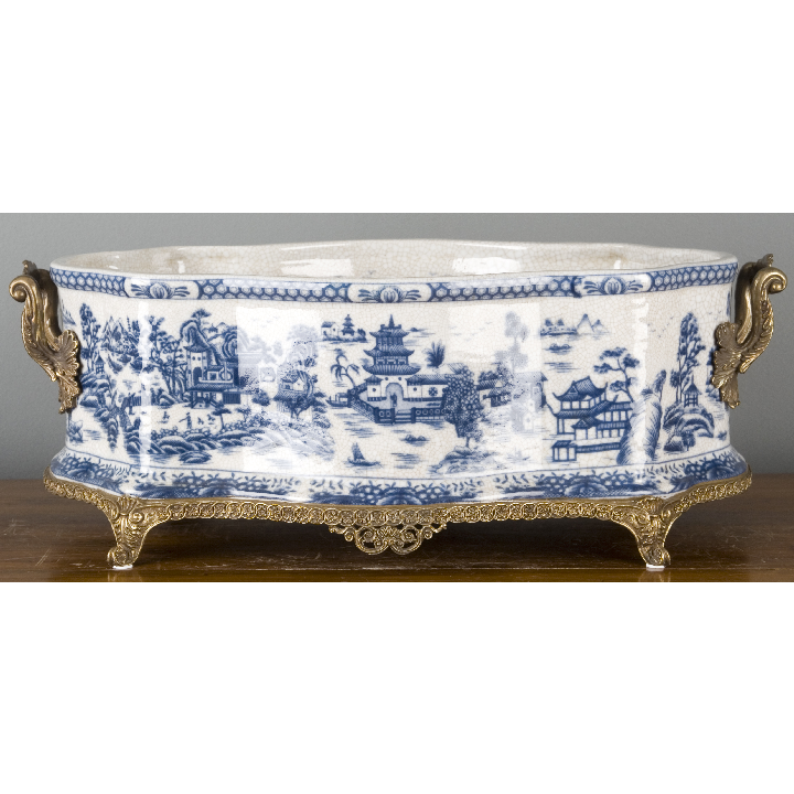 Porcelain Planter with Bronze Ormolu - Blue Willow by Oriental Danny