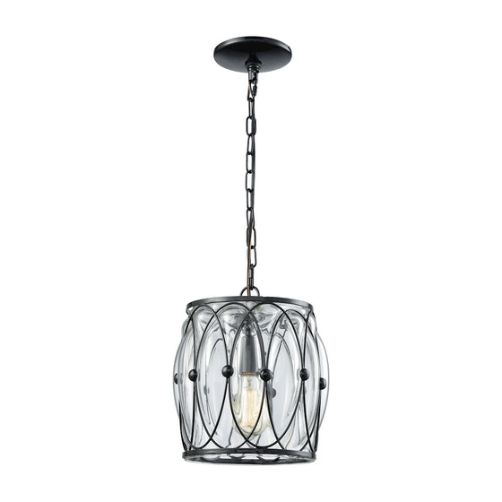 Adriano 1 Light Pendant In Gloss Black With Clear Blown Glass 14520/1 by Elk Lighting