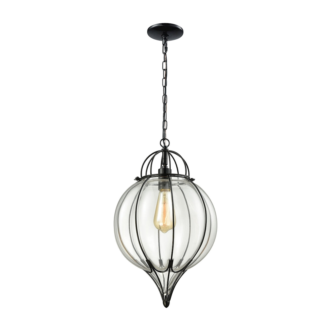 Adriano 1 Light Pendant In Gloss Black With Clear Blown Glass 14521/1 by Elk Lighting