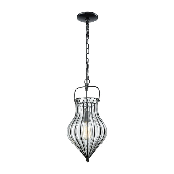 Adriano 1 Light Pendant In Gloss Black With Clear Blown Glass 14522/1 by Elk Lighting