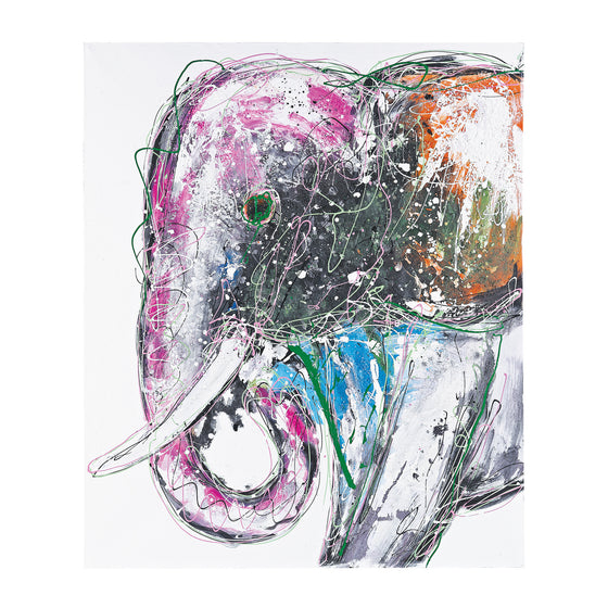 Bold  Elephant - Oversized Oil On Canvas by Sterling