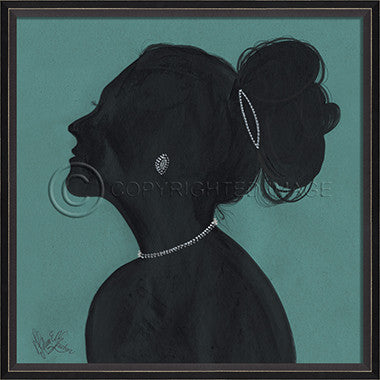 15029 BC Lady Silhouette 3 Blue Framed Art