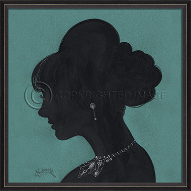 15030 BC Lady Silhouette 4 Blue Framed Art