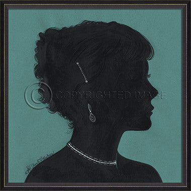 15032 BC Lady Silhouette 6 Blue Framed Art